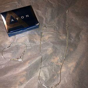 Silver tone Avon necklace and bracelet set